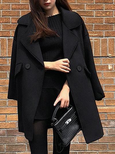 着痩せ シンプル 無地 韓国風 合わせやすい 着心地いい ブラック アウター コート