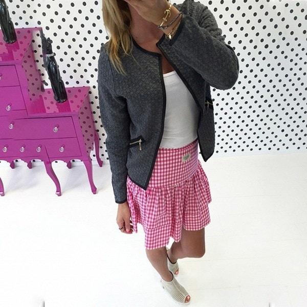 新しいスタイルカジュアルな流行のハングトゥースロングスリーブプルオーバースプライシングジップスリムアウトドア女性ブレザージャック