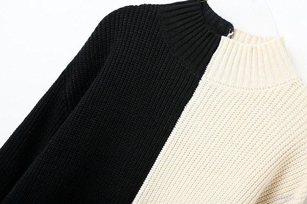 欧米風  バイカラー切り替え 着やせニット ストレッチ ニットウェア  女性 レディース 定番で使える