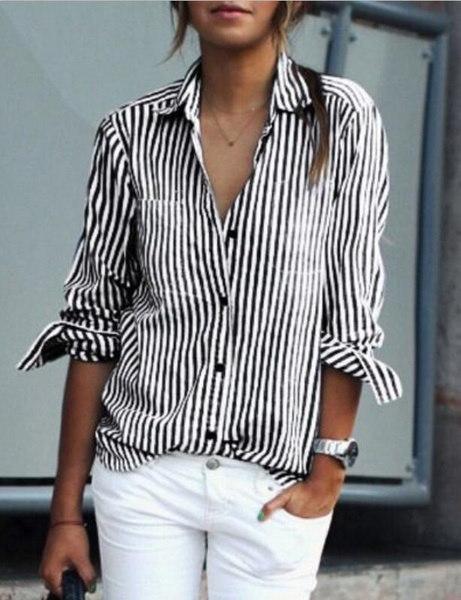 春夏レディースTシャツファッション女性長袖ストライプポケットシャツセクシーカジュアル