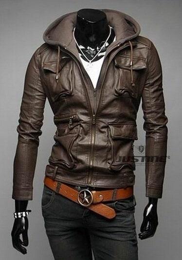 ファッションZppersはスリムフィット韓国のメンズレザージャケットパーカーをデザイン
