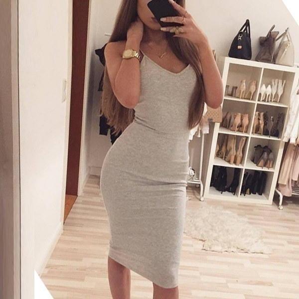 セクシーシースタイトミディコットンソリッドカラーレディースドレス