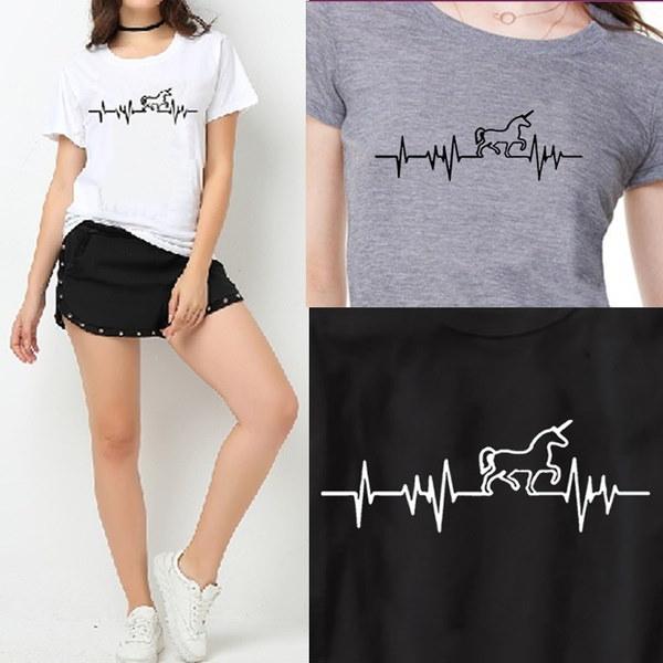 ユニコーンTシャツ - 女性のための原宿おかしいプロダクトトップ&ティー基本的なヴィンテージコットン女性のTシャツ