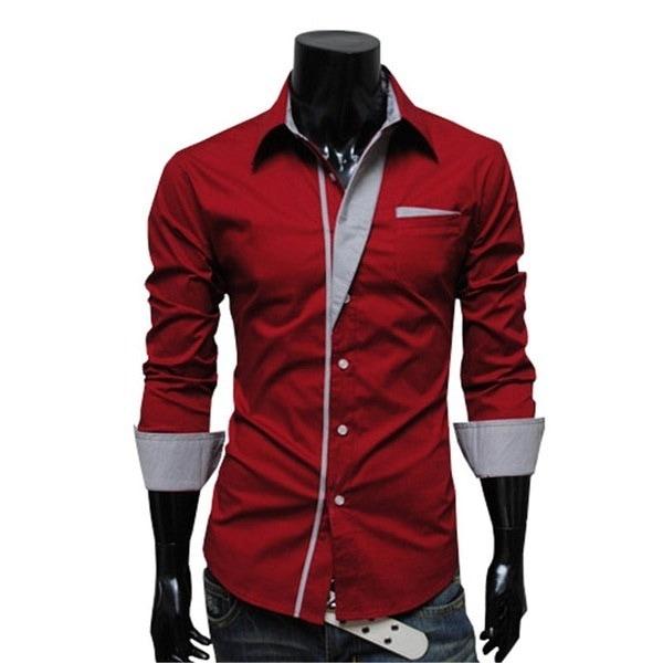 新しい到着メンズシャツスリムフィットスタイリッシュな2017長袖シャツメンズファッション