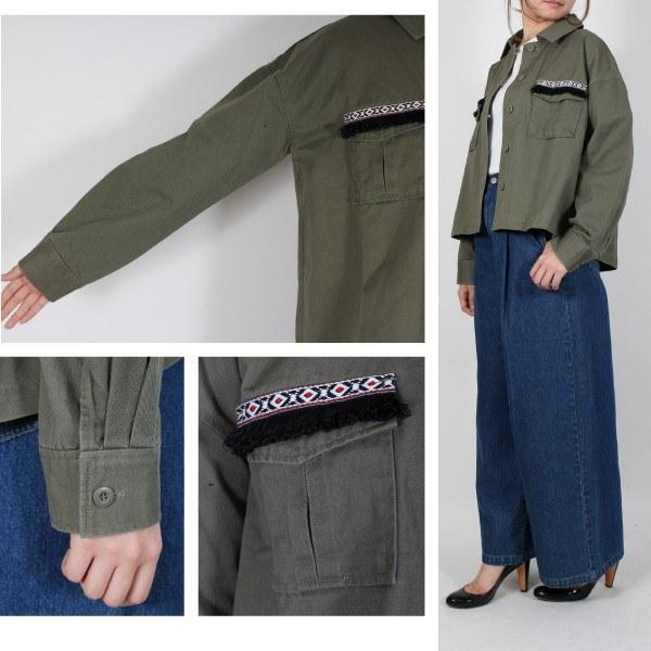 ミリタリージャケット 綿ツイル 刺繍テープ レディース