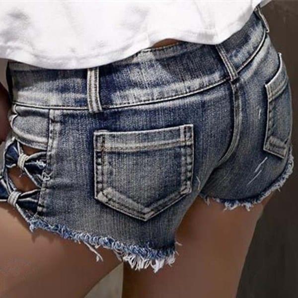 女性セクシーなデニムショーツファッションハイウエストスキニーシースボタンホローアウトショートジーンズ