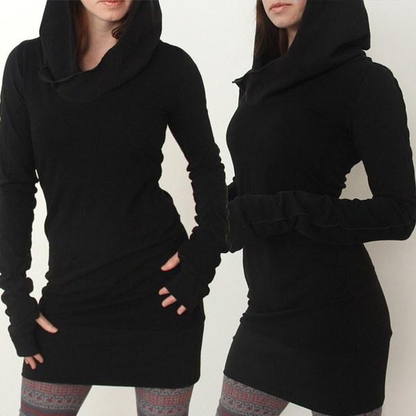 秋冬流行のフード付きドレスホットセールロングスリーブフリースエンチャンティング女性のためのセクシーボディコンSkir