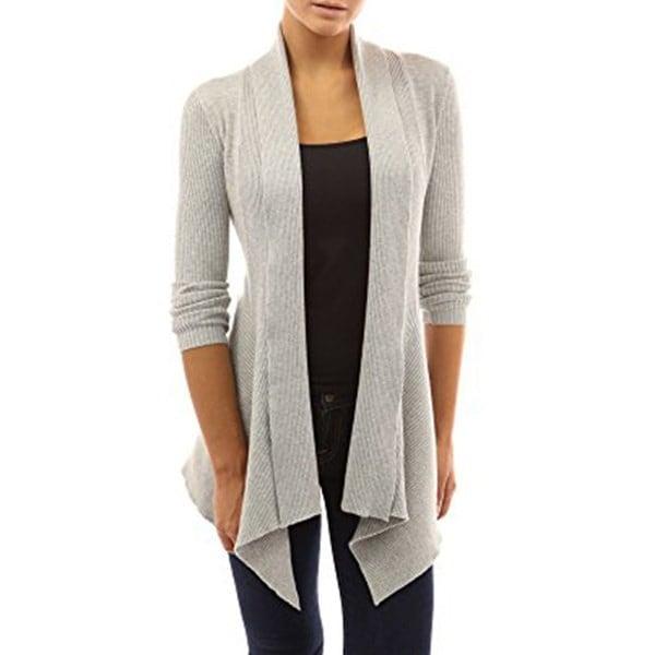 女性のリブ編みのオープンニットセーターカーディガンレディースエレガントなセーターコート不規則な裾のソフト