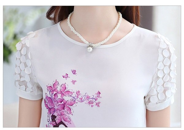 blusas femininas 2016新ファッション女性夏プリントシャツプラスサイズ半袖ダイヤモンドブラウス