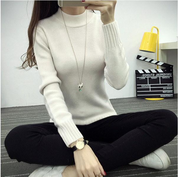 2018冬服新型女装半タートルネック女頭韓版修身無地をセットしてシャツ