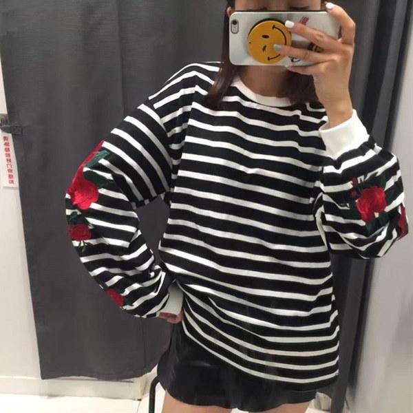 女性Oネックバラ刺繍ランタンスリーブルーズストライプパーカブラウストップス(サイズ:M、カラー:ブラック