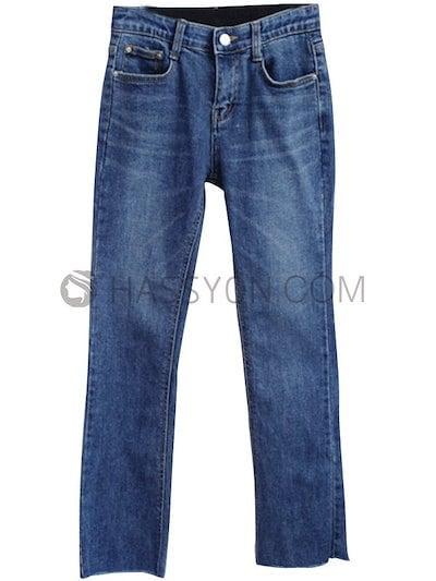 裏起毛 無地 シンプル カジュアル 韓国風 合わせやすい ブルー デニム パンツ