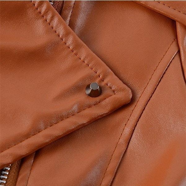 プラスサイズの女性ファッション秋冬コートジャケットロングスリーブジッパースタイリッシュなスリムレザージャケット