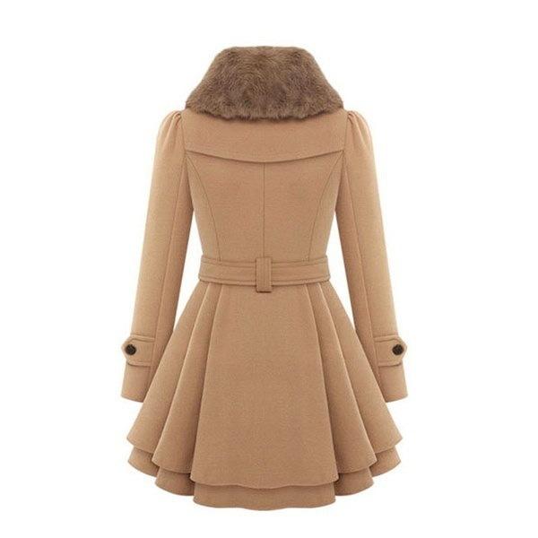 女性のファッションスリムフィットMDの長いダブルブレストウールコートウエストベルト付き