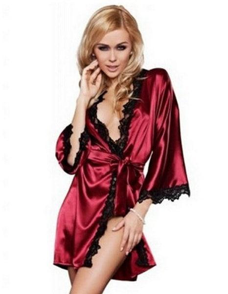 女性のセクシーなランジェリーローブドレス3/4レースのパッチワークナイトウェアのパジャマGストリングのH