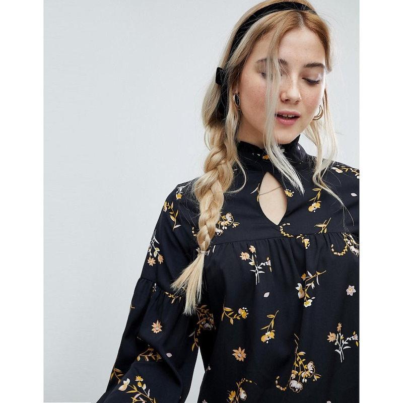 インフルエンス レディース トップス ブラウス・シャツ【Influence High Neck Floral Blouse】Black floral