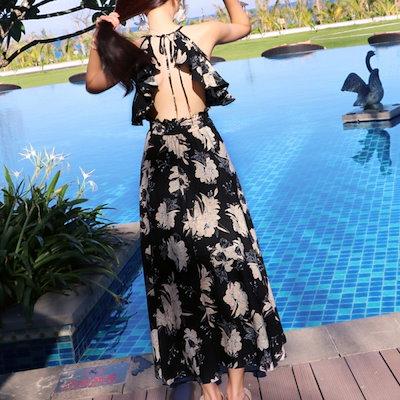 花柄 ホルターネック サマードレス オープンバックデザイン マキシ丈 ワンピース リゾート 20代 30代 G0190