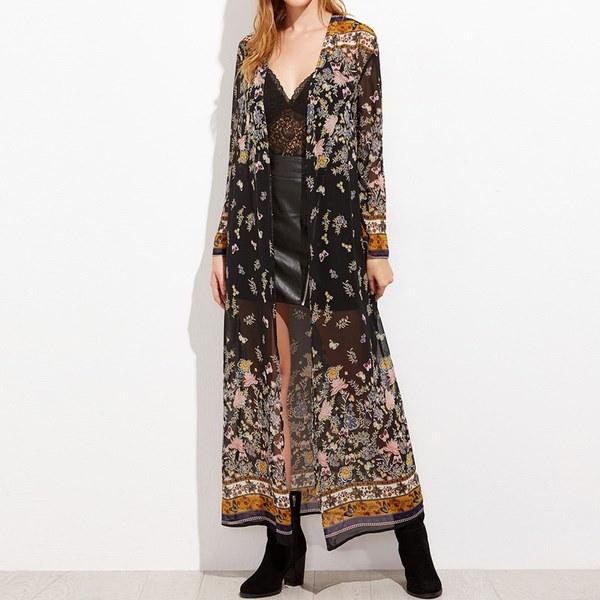 ZANZEA Women Floral Kimono Long Tops Boho Print Beach Swimwear Maxi Cardigan