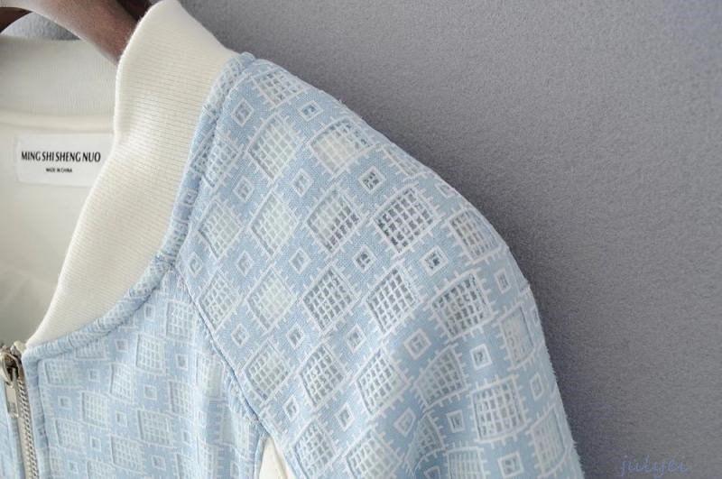 青白配色ジャケットコート レース ジッパー ショート丈 野球服 ストレート レディース 秋長袖アウター