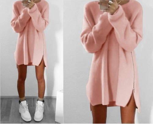 新しい冬のニットジッパー女性のセータードレスプルオーバーロングスリーブ女性ルースウォームセータードレス