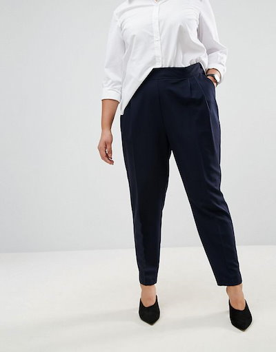 ASOS エイソス レディース 大きめサイズ ゆったりサイズ  送料無料 Navy CURVE The High Waist Tapered Trouser