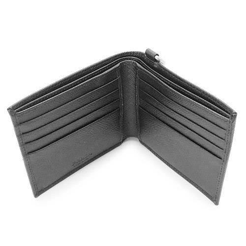 プラダプラダ 折財布 PRADA 2MO513 SAFFIANO FLASH NERO 二つ折り ウォレットチェーン付き 型押しレザー 小銭入れなし ブラック【ILB】