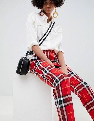 エイソス レディース カジュアルパンツ ボトムス ASOS DESIGN ultimate red and black check ankle grazer pants