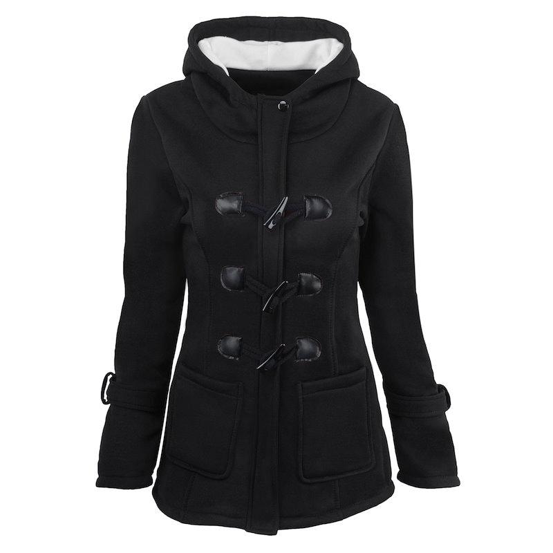 ホーンボタンのコート、フード付きのジャケットと長いセクションのコート