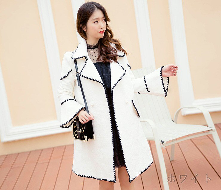 [55555SHOP]ラシャコート フレアスリーブ ゆったり 韓国風 全2色