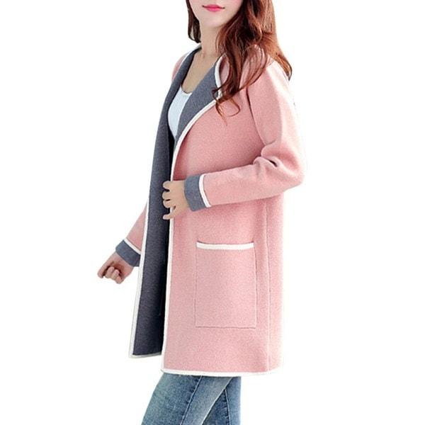 2017秋の女性のロングセーター全一致パッチワークカーディガンフルスリーブスリムポケットニットカーディガン