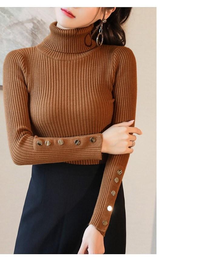 レディースファッション 女性 トップス セーター スタンドカラー ニット プルオーバー タイト 無地 スリム インナー 肌に優しい素材 ボタン 大人のお洒落 ブラック ベージュ ブラウン グリーン