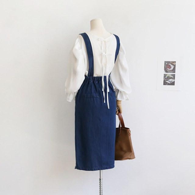 Aラインデニムサスペンダーワンピース青ワンピース秋ワンピース30572デイリールックkorea women fashion style