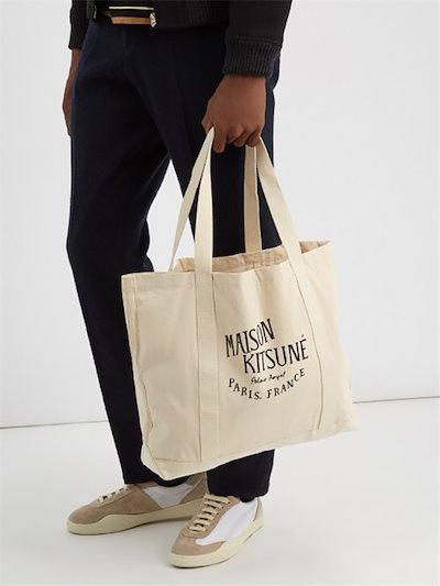 メゾンキツネ MAISON KITSUNE トートバッグ ナチュラル ECRU×BLACK キャンバス ロゴ ユニセックス ショッピングバッグ AU05100AT1009 並行輸入
