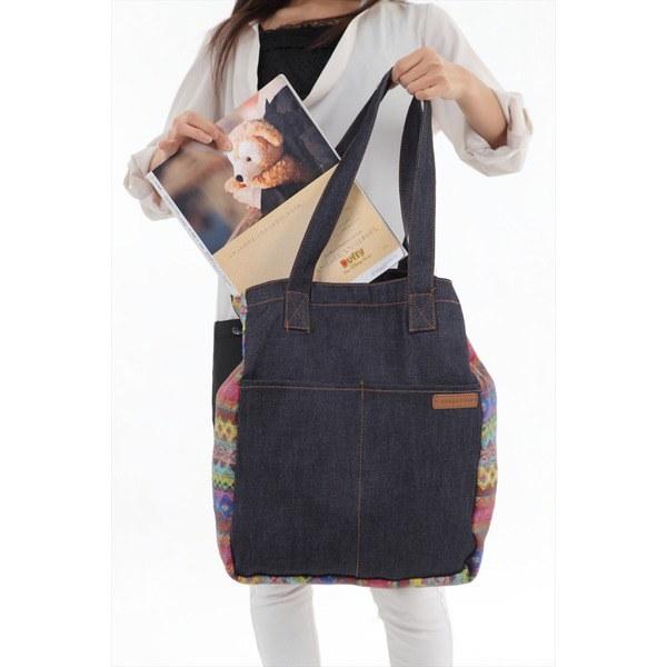 大容量 持ちやすい デニム風生地がかわいいトートバッグ!肩掛け ユニオンジャック レディース 鞄 カバン