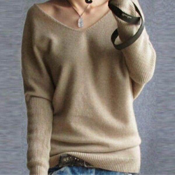 サイズS  -  XXLファッション女性ロングスリーブVネックカジュアル薄いトップスシャツブラウスプルオーバーニット