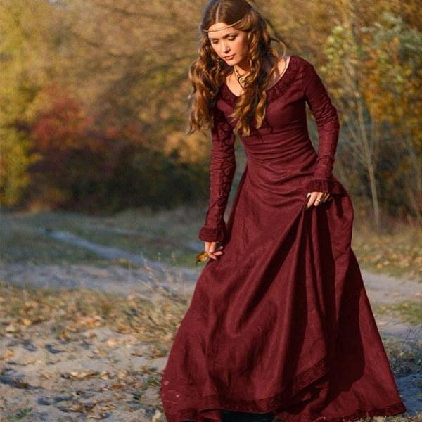 女性のルネッサンス中世ゴシックロングドレスハロウィンボールガウンのコスチュームゴシックイブニングD