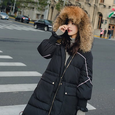 ダウンコットン服コットン服女性ミディアムロング2018冬の新しい韓国語バージョン緩い BF の学生の肥厚の単語コットンジャケットジャケット
