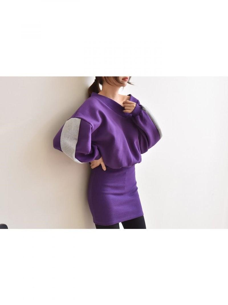 【送料無料】ワンピSALE|1枚着るだけで、コーディネートが完成するドッキングワンピース。ドッキングワンピース 冬 オーバーサイズ 大きいサイズ シンプル スウェット スエット 長袖 Vネック ショー