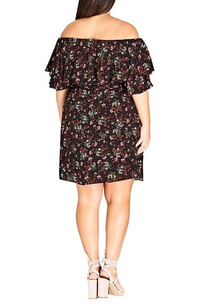シティーシック レディース ワンピース トップス City Chic Fresh Floral Off the Shoulder Dress (Plus Size)