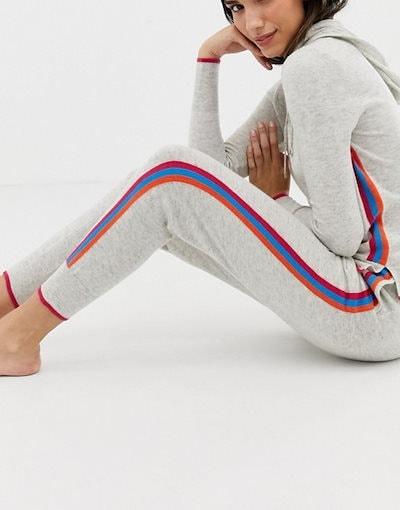 オアシス レディース カジュアルパンツ ボトムス Oasis sweatpants with rainbow side stripe in gray