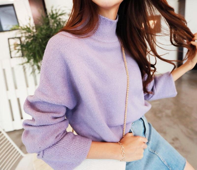 ハーフネックニット- This is knit having warm half-neck and swank spring mood emphasizing loose fit and