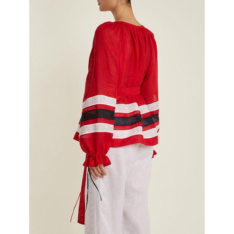 ヴィタキン レディース トップス ブラウス・シャツ【Maldives striped lightweight linen blouse】Red