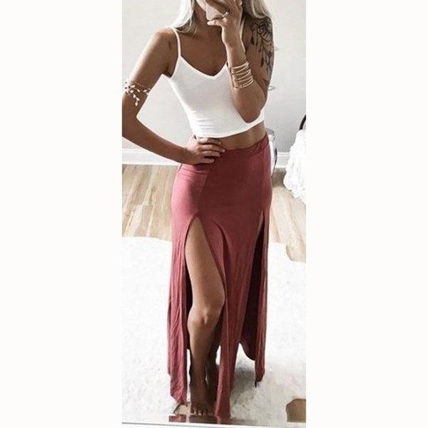 2017夏の新しい女性のロングスカートソリッドセクシースプリットペンシルスカート