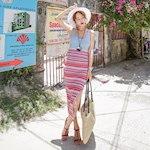 ツーピーススリムフィットストライプひらき段ボールスカート ノースリーブナシチセットデイリールックkorea women fashion style