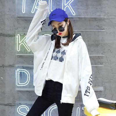 アウター パーカー フーディ バックプリント ストリート ロゴテープ スポーティ レディース ファッション 大きいサイズ ビッグシルエット 原宿系 韓国系 zz
