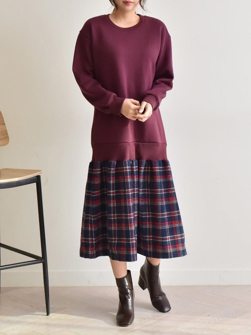 【送料無料】ワンピSALE|今流行のミディアム丈で、コーデもとってもしやすくオシャレに決まること間違いなし★スウェットワンピ フレアスカート ドッキングワンピース 冬 異素材ミックス オーバーサイズ