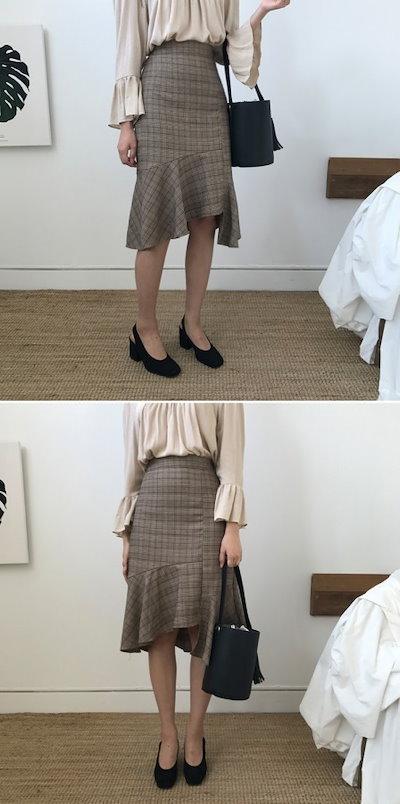 韓国ファッション 春 韓国 かわいい チェック柄 カジュアル ミディアム アシンメトリー レトロ