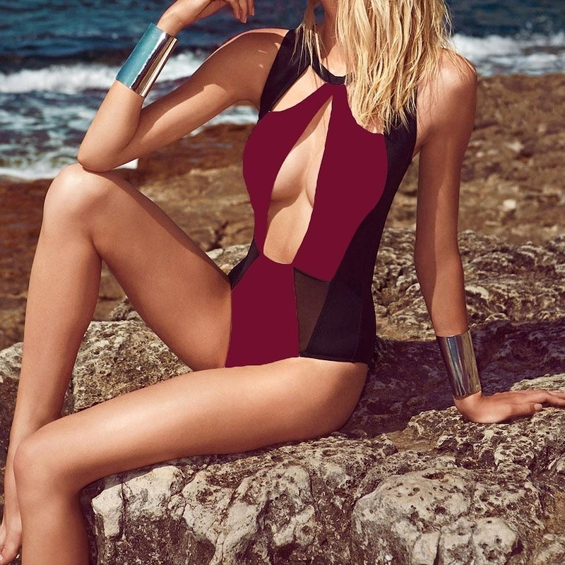 Sexy Women Monokini Triangle Cutouts Mesh Patchwork Swimsuit Beach Bathing Suit Swimwear Burgundy/White