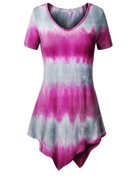 女性ファッション半袖Vネックプリントカジュアルルーズトップス(S-XXXXXL)WZC5833