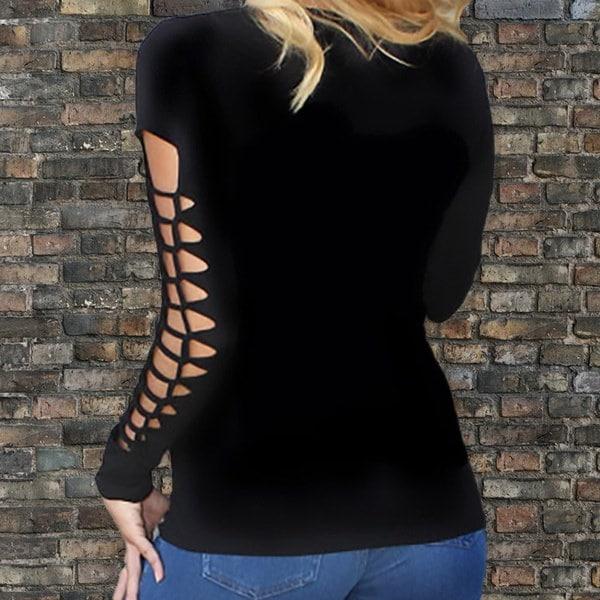 ゴシック様式ファッション女性プリントVネックロングスリーブトップブラウスTeeプルオーバーTシャツ